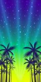 Affiche met de schaduwen van palmen van geel-rode zonsondergangachtergrond Stock Fotografie