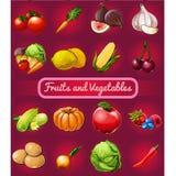 Affiche met een beeld van rijp en gezond die groenten en fruit op rode achtergrond worden geïsoleerd Natuurvoedinggezonde voeding stock illustratie