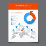 Affiche met eenvoudige infographic wereldkaart Stock Foto