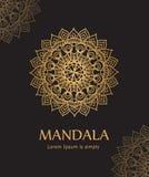 Affiche met gouden die ornamentmandala, op Indische ornamenten wordt gebaseerd royalty-vrije illustratie