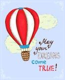 Affiche met hete luchtballon royalty-vrije illustratie