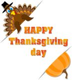 Affiche met inschrijvings gelukkig thanksgiving day en Turkije en pu vector illustratie