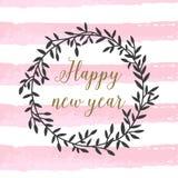 Affiche met kalligrafisch gelukkig nieuw jaarteken met hand getrokken inkt gouden lijn Stock Foto's