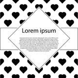 Affiche met patronen van zwarte harten De prentbriefkaar van de valentijnskaartendag Stock Afbeelding