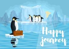 Affiche met pinguïnen de bestrijding van het globale verwarmen van pl stock fotografie