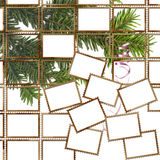 Affiche met postzegels en Kerstmisboom Royalty-vrije Stock Foto's