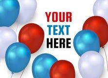 Affiche met rode, blauwe en witte ballons Vector illustratie stock foto