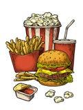 Affiche met snel voedsel Kola, hamburger, hotdog, gebraden gerechtaardappel, popcorn stock illustratie