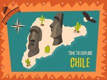 Affiche met standbeelden van Pasen-eiland Stock Fotografie