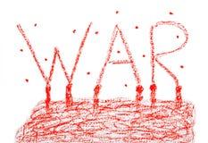 Affiche met tekenoorlog Stock Foto's