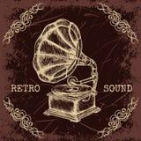 Affiche met uitstekende grammofoon Retro hand getrokken vector retro geluid van het illustratieetiket in schetsstijl Stock Foto's