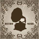 Affiche met uitstekende grammofoon Retro hand getrokken vector retro muziek van het illustratieetiket Royalty-vrije Stock Fotografie