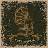 Affiche met uitstekende grammofoon Retro hand getrokken vector retro muziek van het illustratieetiket Royalty-vrije Stock Afbeeldingen