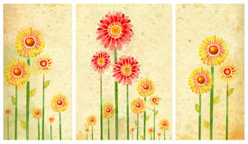 Affiche met waterverfbloemen Stock Foto's