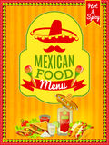 Affiche mexicaine de menu de nourriture Photo stock