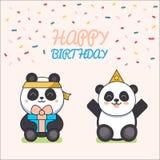 Affiche mignonne d'animaux La carte de voeux mignonne de joyeux anniversaire pour le style de bande dessinée d'amusement d'enfant Photos libres de droits