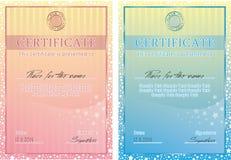 Affiche mignonne de certificat de vecteur Images libres de droits