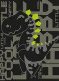 Affiche mignonne de dinosaure Fond de noir de Dino de bande dessinée Illustration de vecteur illustration de vecteur