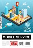 Affiche mobile isométrique de service de navigation illustration libre de droits