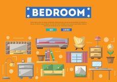 Affiche moderne de décoration intérieure de chambre à coucher Image stock