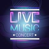 Affiche musicale moderne de style de Live Music Concert Banner Colorful Images stock