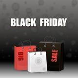 Affiche noire de la publicité de vente de vendredi Photo libre de droits