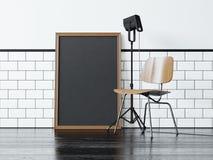 Affiche noire près de la chaise rendu 3d Photos libres de droits