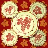 Affiche op thema van de gouden herfst en thanksgiving day Reeks muurplaten die bossen van druiven op een achtergrond afschilderen royalty-vrije illustratie