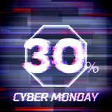 Affiche ou bannière de remise de vente de lundi de Cyber avec le problème Illustration Stock