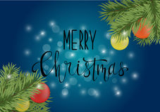 Affiche ou carte bleu-foncé de Noël avec la calligraphie Photographie stock