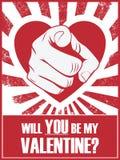 Affiche ou carte postale drôle de Saint-Valentin avec la main Images libres de droits