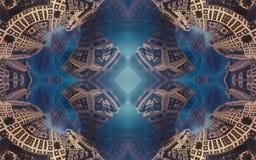 Affiche ou fond fantastique abstraite épique Vue futuriste de l'intérieur de la fractale Modèle sous la forme de flèches images libres de droits