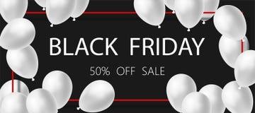 Affiche ou vente de Black Friday de bannière Ballons blancs sur le fond noir 50 % OUTRE de la vente illustration libre de droits