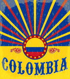 Affiche patriotique de vintage de la Colombie Photographie stock