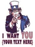 Affiche patriotique de vintage de vecteur avec la signature je veux vous et votre texte pour votre conception illustration de vecteur