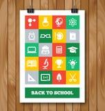 Affiche plate avec l'éducation et les fournitures scolaires illustration de vecteur