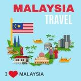 Affiche plate d'agence de voyages de culture de la Malaisie illustration libre de droits