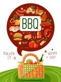 Affiche plate d'invitation de pique-nique de BBQ Image stock