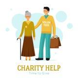 Affiche plate d'organisation d'aide de charité de volontaires illustration libre de droits
