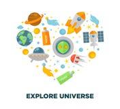 Affiche plate de coeur de vecteur d'exploration d'univers et de recherche spatiale de galaxie illustration de vecteur