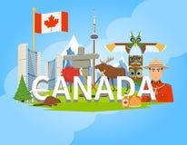 Affiche plate de composition canadienne en symboles nationaux illustration libre de droits
