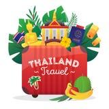 Affiche plate de composition en symboles de voyage de la Thaïlande illustration stock