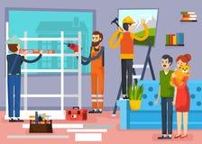 Affiche plate de composition en travailleurs de la construction illustration stock