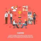 Affiche plate de concept de travail d'équipe d'affaires Photo stock
