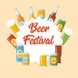 Affiche plate de festival de bière illustration stock
