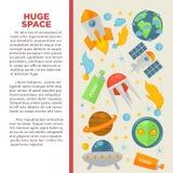 Affiche plate de l'information ou d'éducation de vecteur d'exploration d'univers et de recherche spatiale de galaxie illustration libre de droits