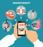 Affiche plate de menu en ligne d'Aromatherapy Photographie stock libre de droits
