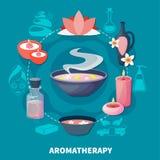 Affiche plate de parfums d'Aromatherapy de station thermale illustration de vecteur