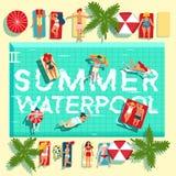 Affiche plate de piscine de vacances d'été illustration de vecteur