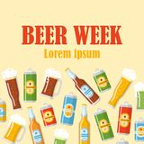 Affiche plate de semaine de bière Photos stock